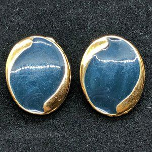 Vintage Coro Oval Clip On Earrings Navy Gold